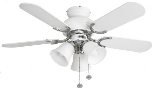 "Fantasia Capri Combi 36"" White and Stainless Steel Ceiling Fan +  Light 110538"